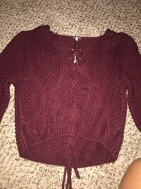 Burgundy Knitted Cropped Sweater  Whittier, 90601