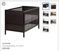 Black wooden convertible crib screenshot Alexandria, 22314