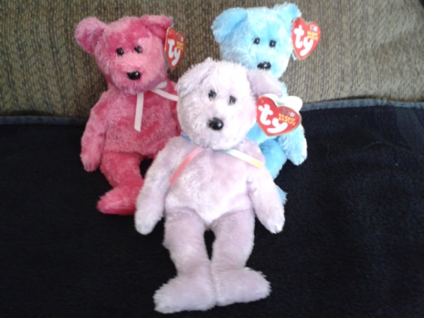 Ty Sherbert Beanie Babies in Purple, Blue and Pink