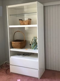 Entertainment Center with shelves and drawers, white laminate