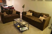 brown sofa and loveseat with throw pillows Montgomery County