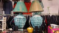 two empire teal and brown table lamps