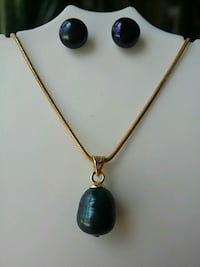 Genuin Black Pearl Pendant Set