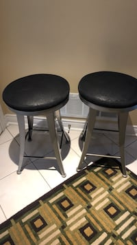 Two black leather padded bar stools Richmond Hill, L4S 2G9