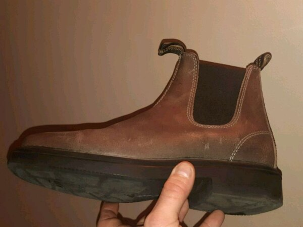 brown and black leather Chelsea shoe