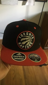 Red, black and white Toronto Raptors fitted cap