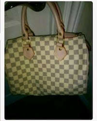 brown and beige checkered leather tote bag Brampton, L6X 1A2