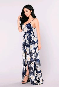 size XL navy blue floral chiffon semi maxi dress Arlington, 76010