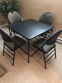 Rectangular black metal table with four chairs MONTREAL