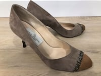 Beige velour finish Ladies Shoes ベルビュー, 98006