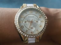 Fossil watch two tone gold/white with crystals boy Toronto