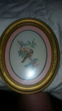 round brown wooden framed painting of flowers Dallas, 75243