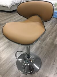 stainless steel base white leather padded bar seat 蒙特利帕克, 91755