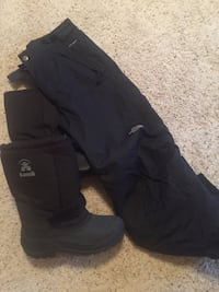 Boys 14-16 North Face ski pants and size 7 Kamik snow boots