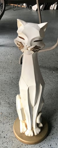 1950 white cat antique sculpture