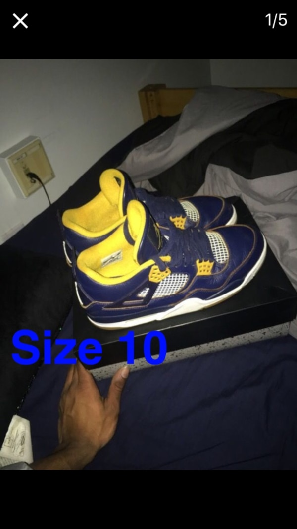 47bf0a1df30 Used blue yellow and white Air Jordan 4 for sale in Washington - letgo