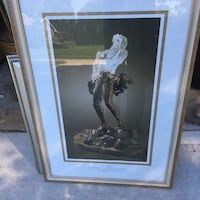 woman in white dress painting with brown wooden frame Omaha, 68122