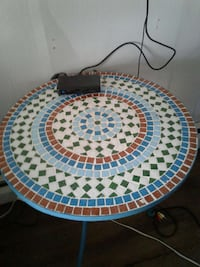 Outdoor or indoor Mosaic Tile Table blue  White Haven, 18661
