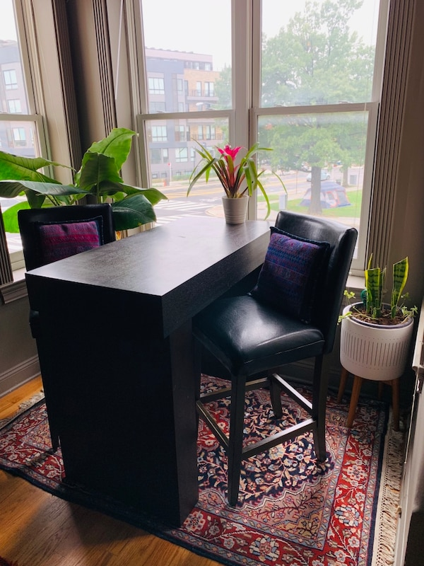 West Elm Counter Table + Leather Bar Chairs