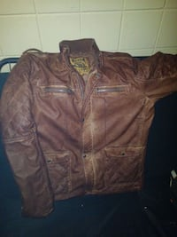 quilted brown leather zip-up jacket
