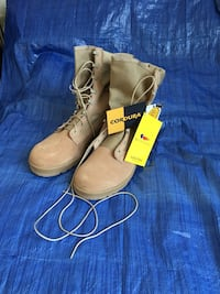 Belleville Army Desert Combat Boots. Brand new. Never used. Still in original box. Legendary Vibram sole. The light weight durable boot upper shell of CORDURA nylon and leather promotes breathability. It is resistant to abrasions, tears and scuffs. Size 1 Menands, 12204
