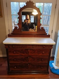 Marble Top Walnut Chest of Drawers Late 1800s