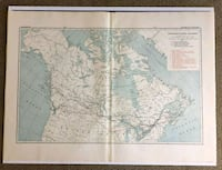 1900s Antique & Rare Large Railway Map of Canada 3128 km