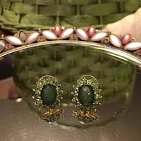 Gorgeous! Gold pierced earrings with green crystal stones Gainesville, 20155