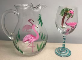 PIER ONE HAND PAINTED PITCHER & WINE GLASS