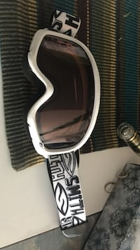 brown tinted white snow goggles