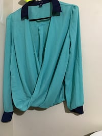 women's teal and black collared long-sleeved shirt Toronto, M1E 1L8