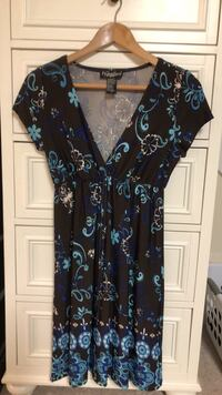 women's black and blue floral sleeveless dress 32 km