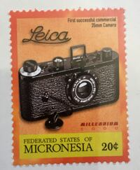 Leica camera collectible postage stamp. Unused. Perfect. Sealed. Micronesia. Vintage camera collection