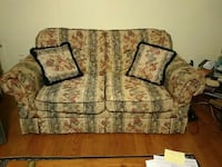 beige, gray, and red floral loveseat Rockville, 20855