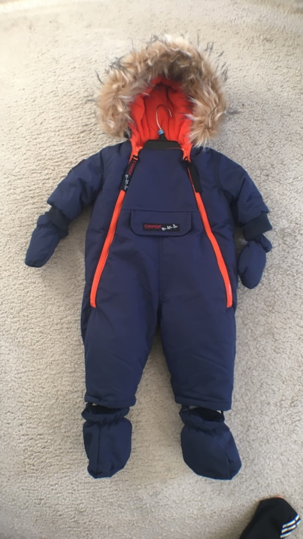 2 winter jumpsuit  for infant 6-12 months, 1 of them is very warm, another is just light, $20 for both