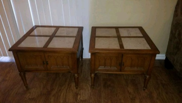 Used 2 Vintage Marble Top Side End Tables With Storage For Sale In
