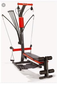 Black and red bowflex xtreme exercise equipment