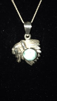 Sterling silver chief pendant wth turquoise