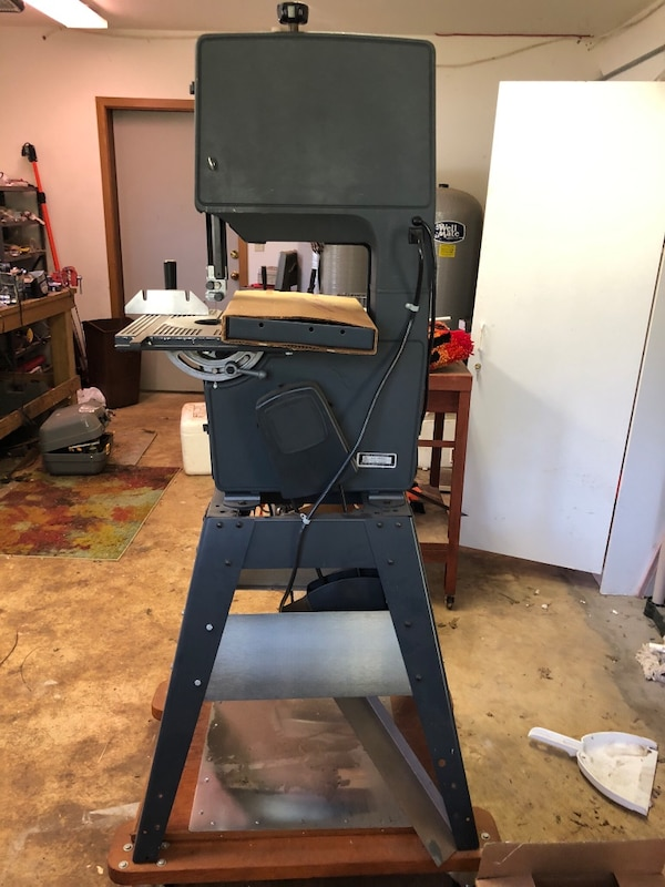 Band saw on wheels with extra parts