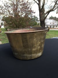 Early Signed Antique Brass Bucket, English,American, French.