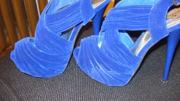 Qupid Dazzling-41 Blue Pleated Slingback Peep toe Sandal Stiletto Heels - Size 6