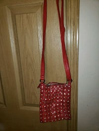 red and white leather crossbody bag Omaha, 68137
