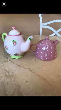 two pink and blue ceramic teapots Wall Township, 07719