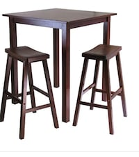 Two brown wooden bar stools with leather on seats Greenwood, 46142