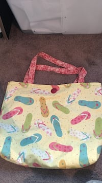 yellow and multicolored flipflops-printed tote bag