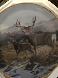 beige framed deer and stag decorative plate Hagerstown, 21740