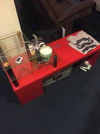 Red end table with two tiers of glass shelves Chicago, 60640