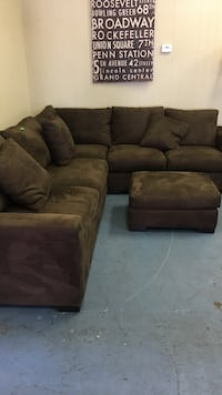 brown suede sectional sofa with ottoman Modesto, 95350