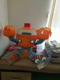 orange and green robot toy