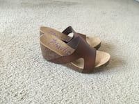 Brown and Cork Wedge Heels(Size 9) Silver Spring